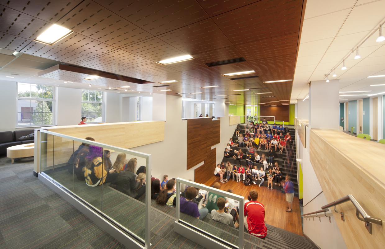 Main staircase and gathering area at NSCD, Library and Science Center.