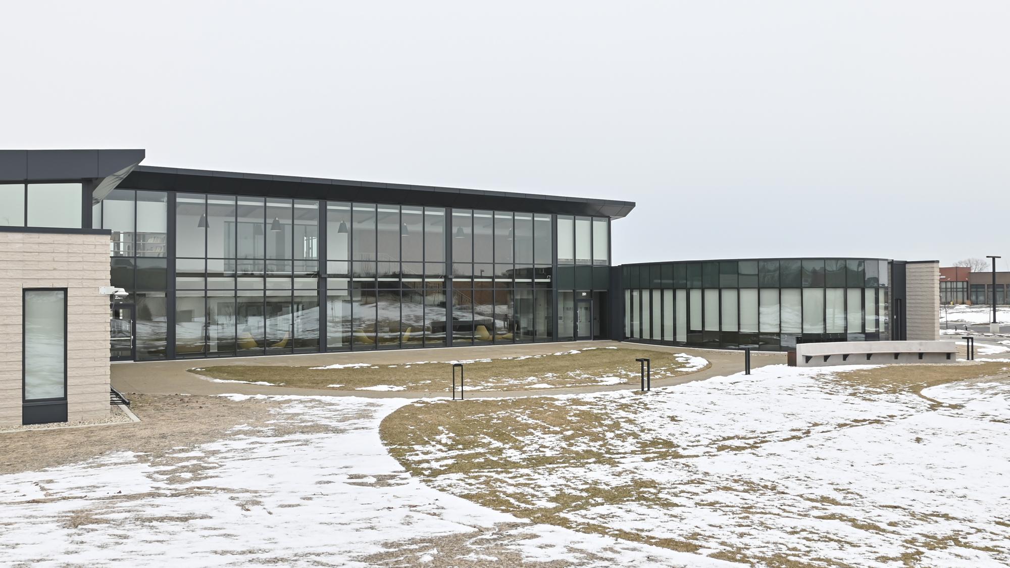 Exterior view of Evans Scholars in snow.