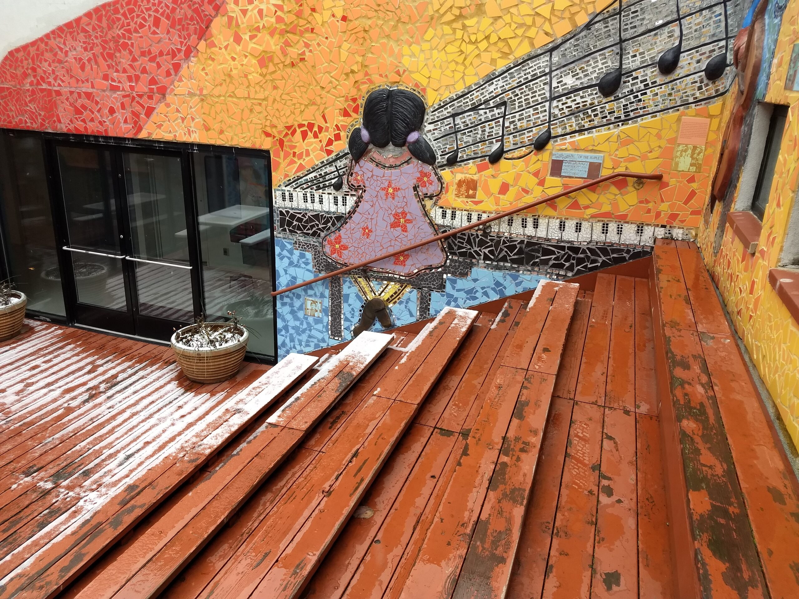 Exterior stairs, painted displays, People's Music School.