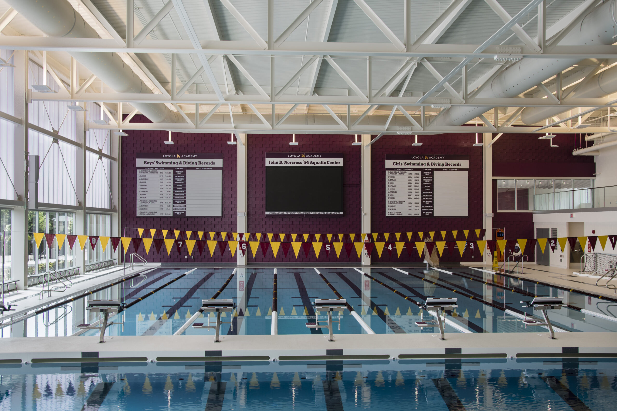 Interior pool view, Loyola Academy Aquatic Center.