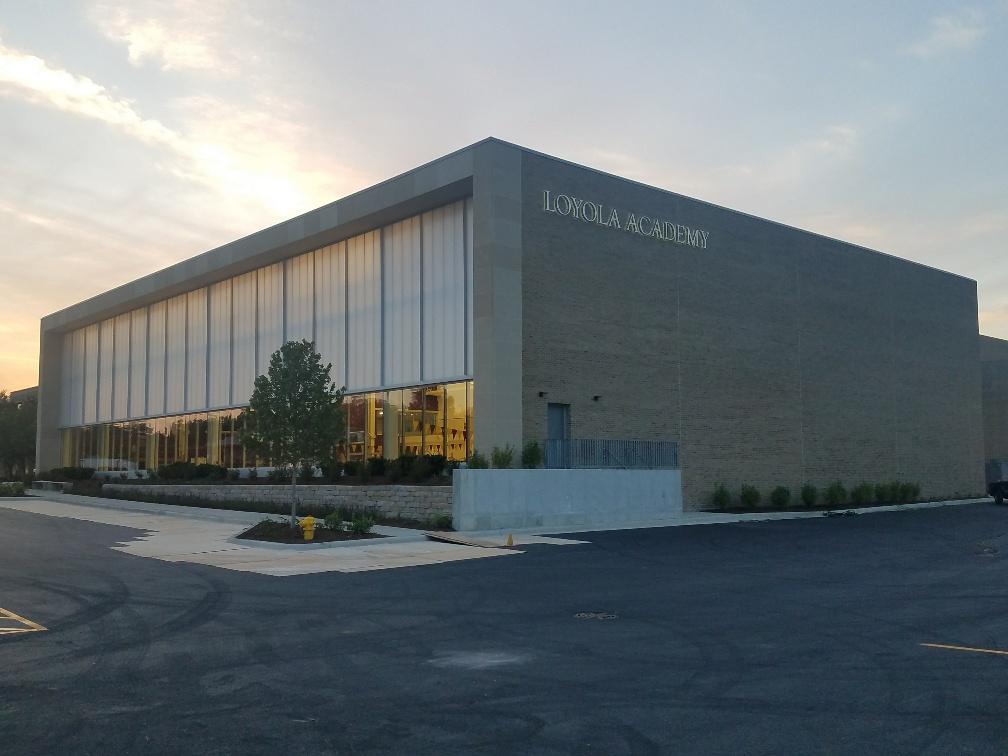 Exterior view Loyola Academy Aquatic Center.
