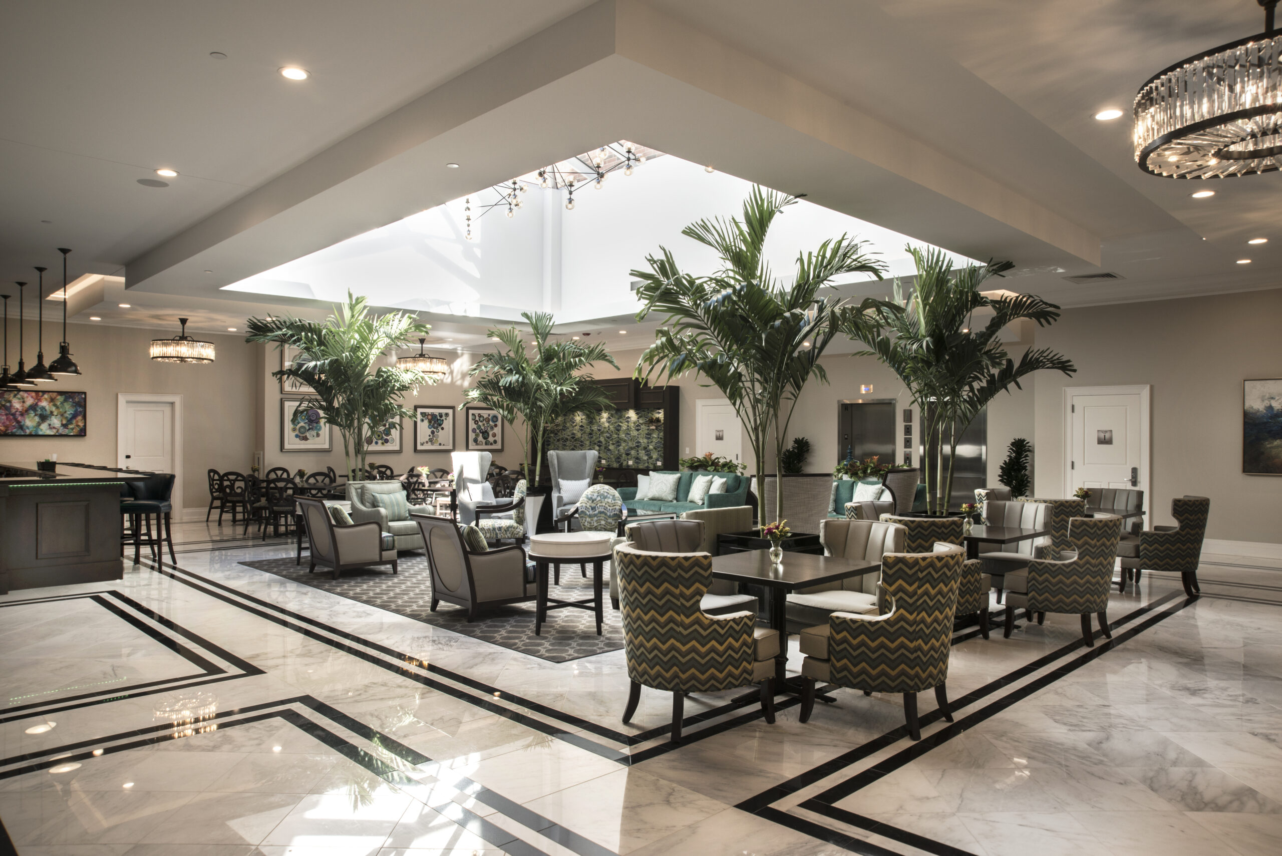 Dining areas within The Merion.