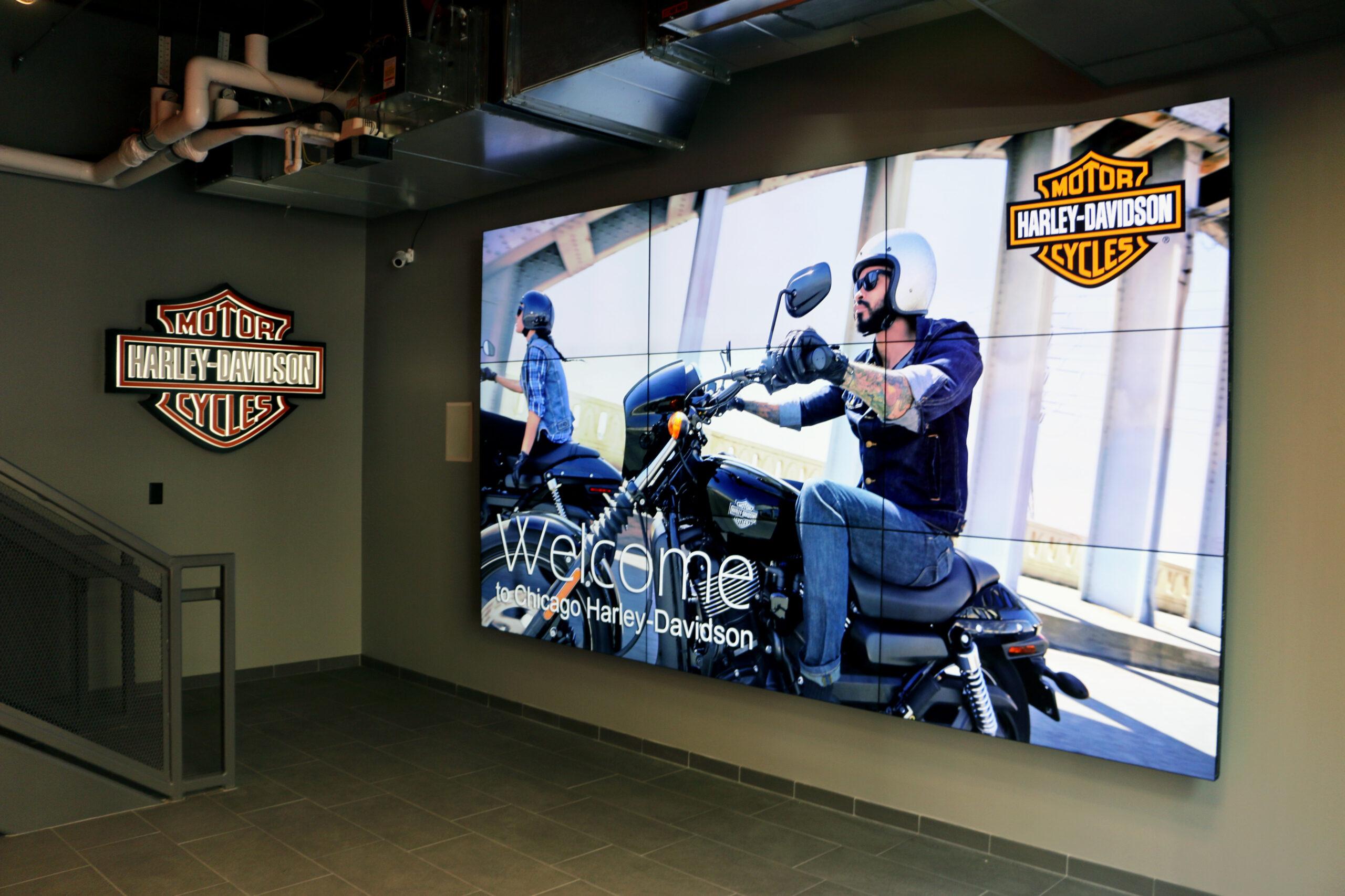 Large media screen at Harley Davidson.