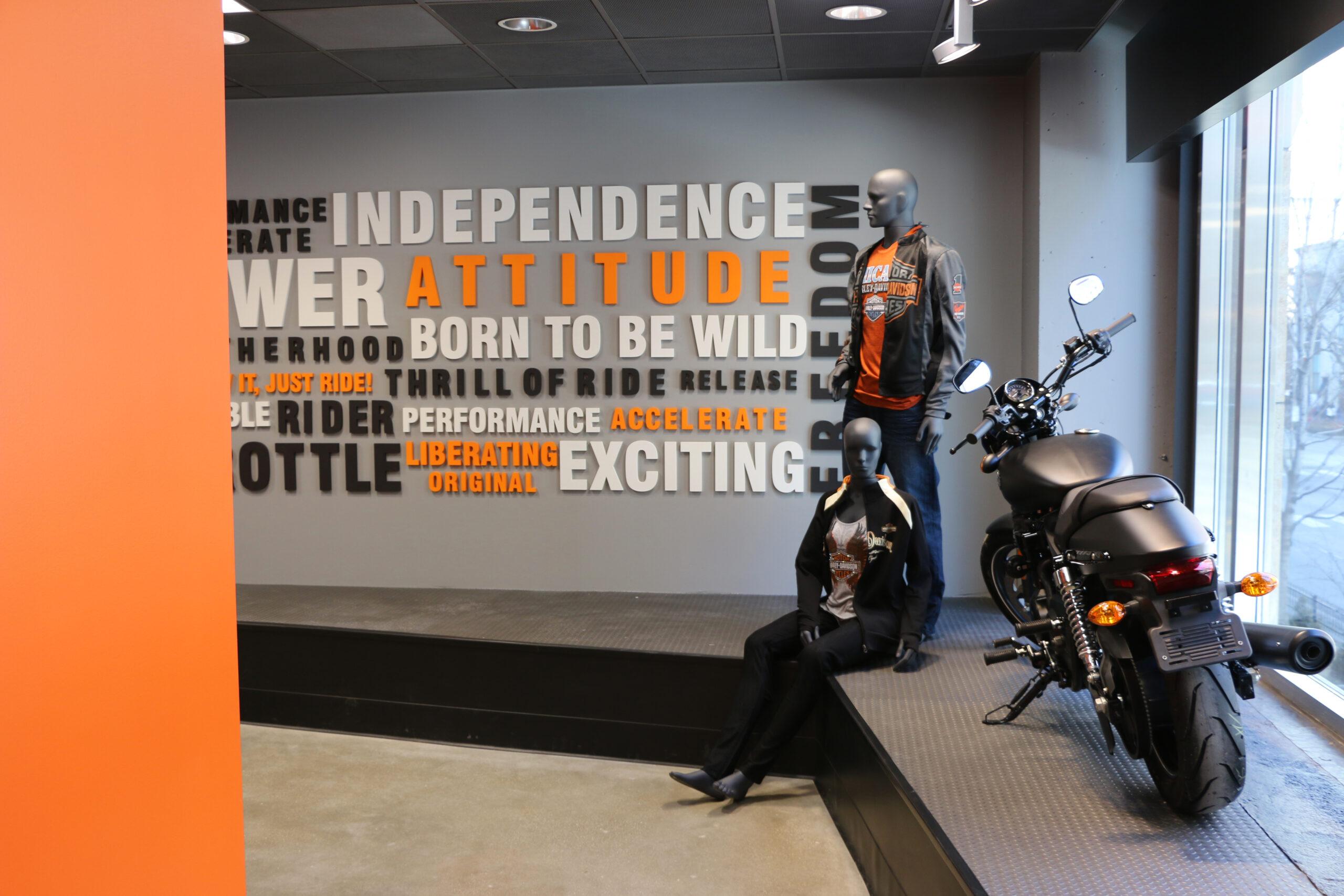 Wall graphics and branding at Harley Davidson.