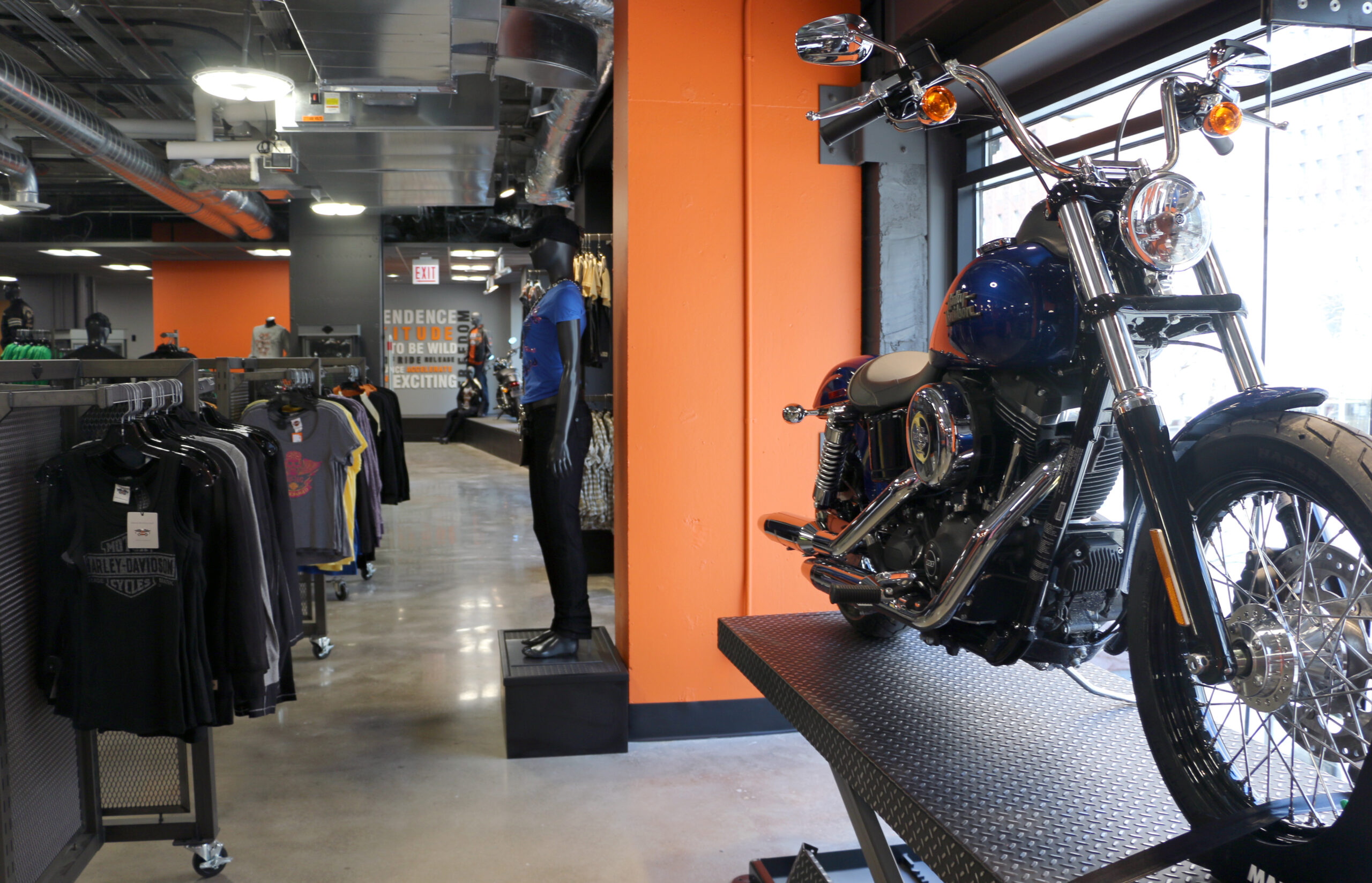 Displays at Harley Davidson.
