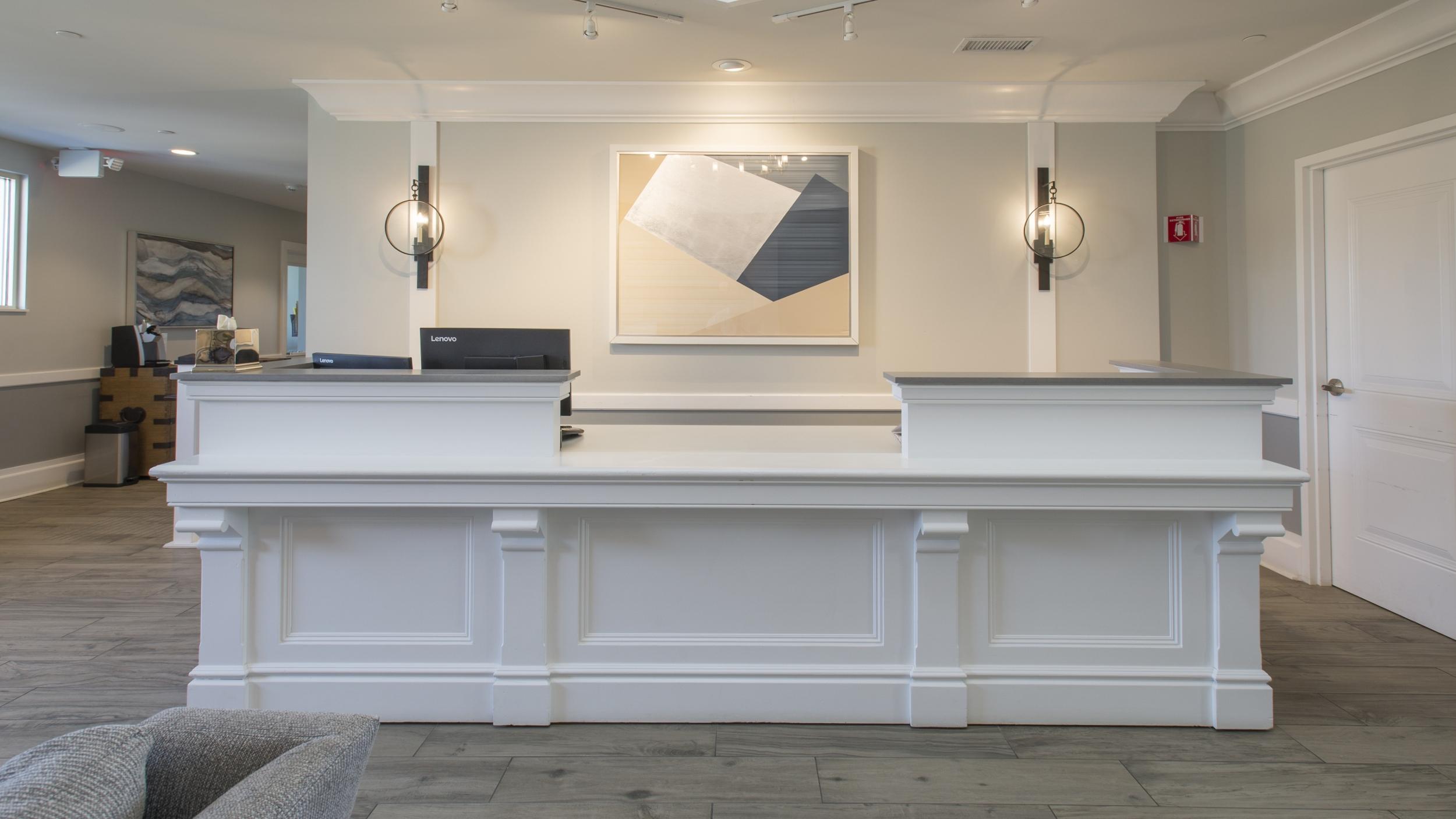 Reception desk at Valley Lo.