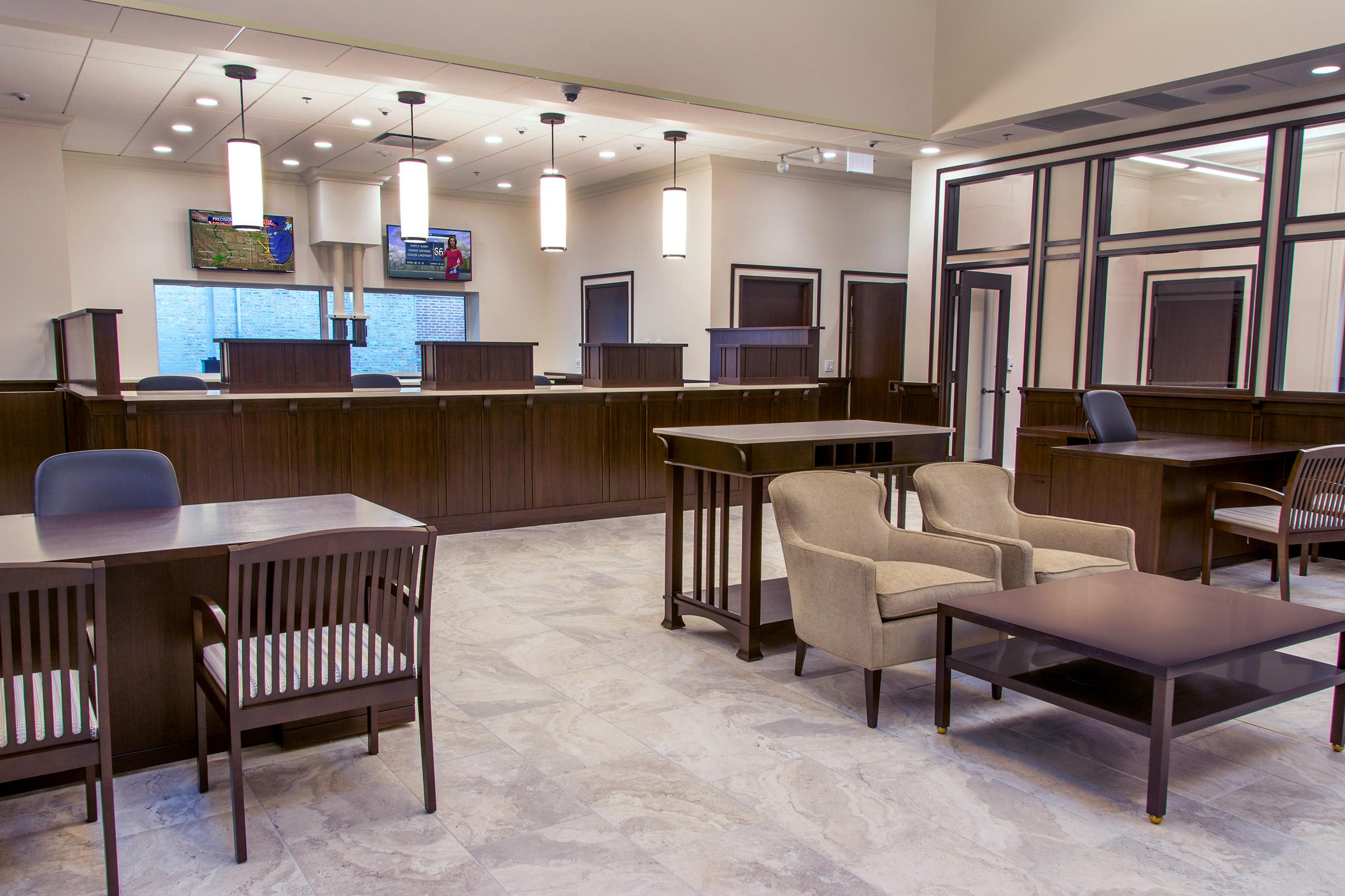 Interior view of Wintrust Bank Mayfair.